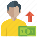 business growth, career growth, improvement, money growth, productivity icon
