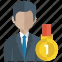 business growth, businessman achievement, businessman standing, improvement, successful businessman icon