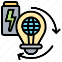 idea, lightbulb, recharge, recycle, renew icon