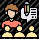 adviser, consultant, discussion, leader, team icon