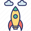 business startup, rocket, rocket launch, spacecraft, startup launch icon
