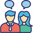 business conversation, business dialogue, business meeting, conference, professionals meeting icon