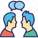 communication, conversation, dialogue between two people, discussion, people talking icon
