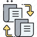 documents, exchange, files, paperwork icon