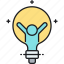idea, light bulb, think big icon