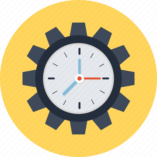 business organization, gear clock, mechanism emblem, production, work schedule icon
