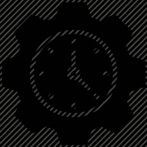 business organization, gear clock, mechanism emblem, production, work schedule icon