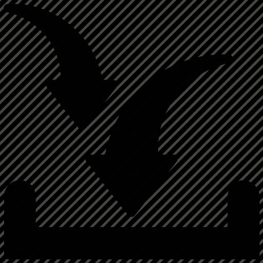 arrow down, arrow indicating, download, downloading arrow, inbox icon