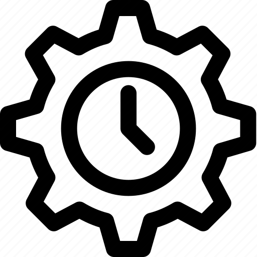 Business organization, gear clock, mechanism emblem, production, work schedule icon - Download on Iconfinder