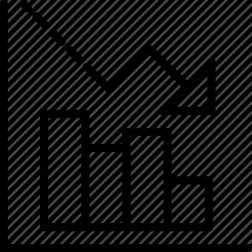 analytics, business graphic, decreasing, graph, loss chart icon