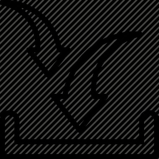 arrow down, directional arrow, download, downloading arrow, inbox icon