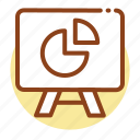 board, pie chart, presentation icon icon