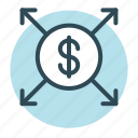 dollar currency, dollar sign, money value, up arrow icon icon