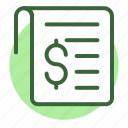 bill, check, checkout, cheque, invoice, receipt, statement icon icon