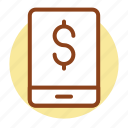cell, dollar, mobile banking, phone icon icon