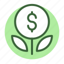 bank, grow, money, plant, savings icon icon
