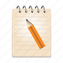 note, page, paper, pen, pencil, text icon