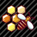 bee, cartoon, hive, honey, honeycomb, nature, sweet