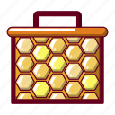 bee, cartoon, hexagon, hive, honey, honeycomb, nature