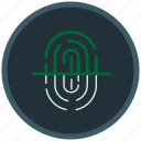 finger, fingerprint, indentification, mark, protection, scanning icon