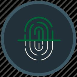finger, fingerprint, indentification, mark, protection, scanning icon