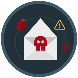 blackmail, infected, mail, network, spam, virus icon