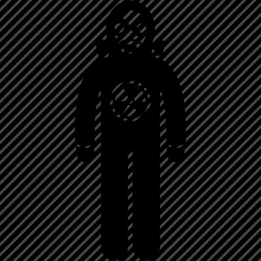 atom, biohazard, chemical, nuclear, protective, suit, uniform icon