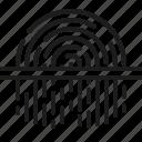 computers, electronics, fingerprint, scan, tech, technology icon