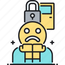 door, lock, paranoia, paranoid icon