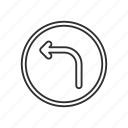 arrow, arrow left, road, road sign, sign, street, turn left icon