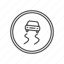 car, car sign, road, road sign, sign, slippery road, wet road icon