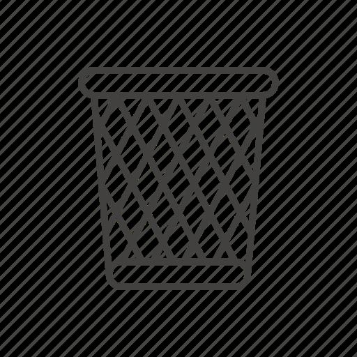 bin, line, public, seat, sign, thin, trash icon
