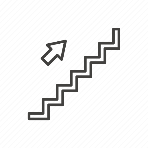 arrow, direction, exit, ladder, public, staircase, stairs icon