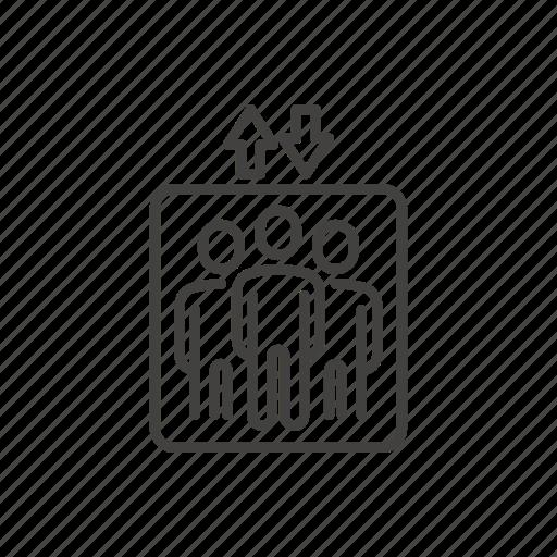 arrow, direction, elevator, lift, public, sign, thin icon