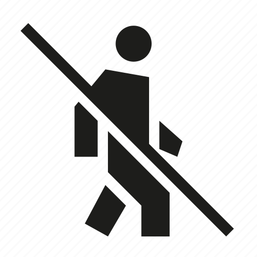 ban, do not walk, no walking, not allowed, prohibited, restricted icon