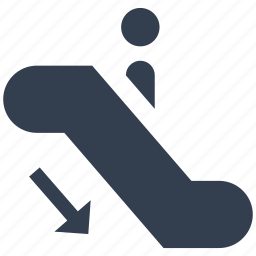 down, escalator, person, silhouette icon