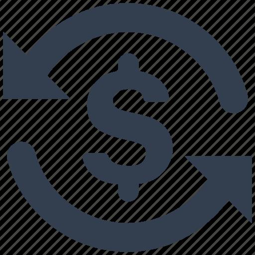 arrow, dollar, exchange, money icon