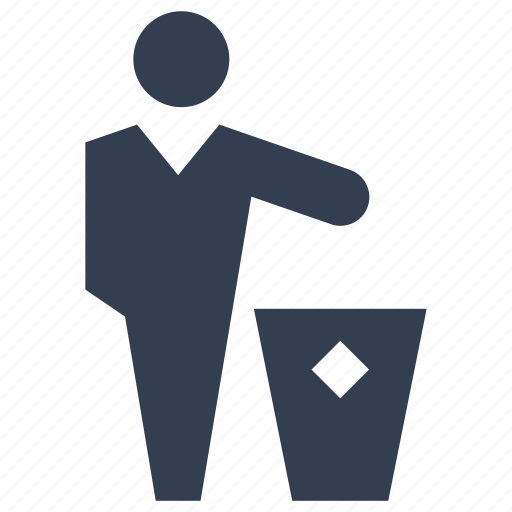 bin, garbage, man, person, rubbish, trash icon