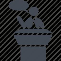 public cpeech, speaker, speech, tribune icon