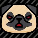 emotion, angry, pug, face, feeling, expression, emoji