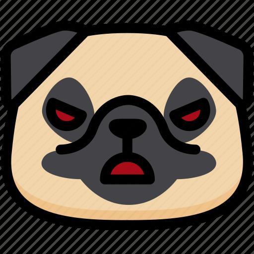 angry, emoji, emotion, expression, face, feeling, pug icon