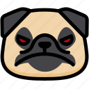 angry, emoji, emotion, expression, face, feeling, pug icon