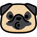 blowing, emoji, emotion, expression, face, feeling, pug