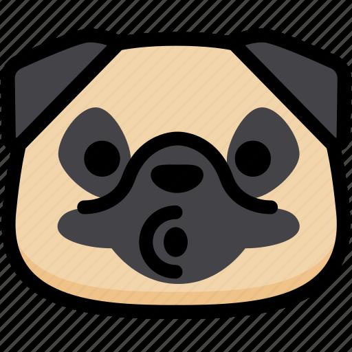 blowing, emoji, emotion, expression, face, feeling, pug icon