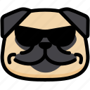 cool, emoji, emotion, expression, face, feeling, pug icon