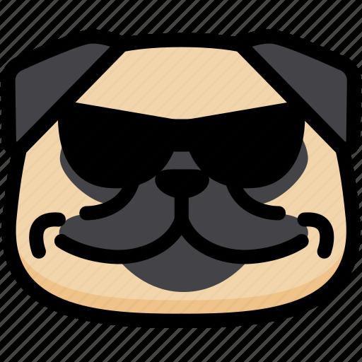 cool, emoji, emotion, expression, face, feeling, pug icon