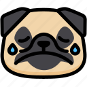 cry, emoji, emotion, expression, face, feeling, pug icon