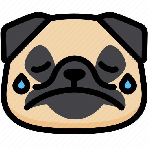 cry, emoji, emotion, expression, face, feeling, pug icon