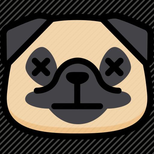 dead, emoji, emotion, expression, face, feeling, pug icon