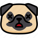 dead, emoji, emotion, expression, face, feeling, pug